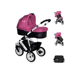 Lorelli Kombi-Kinderwagen Kinderwagen 2 in 1 Monza, Luftreifen, Wickeltasche, Babywanne, Sportsitz rosa