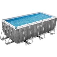 BESTWAY Power Steel Frame Pool Set 412 x 201 x 122 cm inkl. Filterpumpe grau Rattanoptik