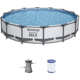 BESTWAY Steel Pro Max Frame Pool Set 427 x 84 cm inkl. Filterpumpe