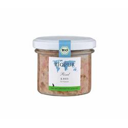 Biopur Rind, Reis Bio-Katzenfutter im GLAS