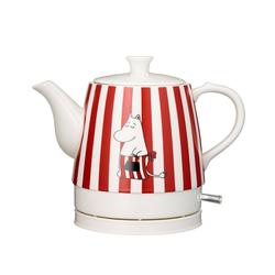 MOOMIN Wasserkocher 19130001 MUMIN Keramik Wasserkocher by ADEXI Wasserkocher in Teekannen-Form, Mumin Design,Rot weiss getreiftes Design, 0.80 l, 1750 W