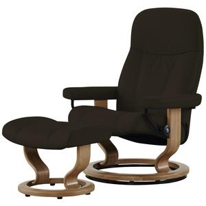 Stressless Relaxsessel mit Hocker braun - Leder Consul M ¦ braun ¦ Maße (cm): B: 76 H: 100 T: 71