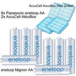 8er Pack Eneloop Akkus Mignon AA Akku Batterien mit blauer Akkubox Neueste Version