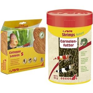 sera Catappa Leaves S 10 – 15 cm 10 St. & Shrimps Nature 100 ml (55 g) - Garnelenfutter mit Spirulina und Erlenzapfen, für Garnelen sowie Axolotl Futter