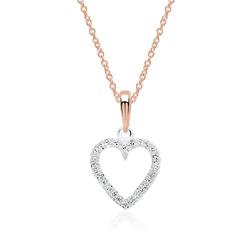 Herzkette 585er Roségold Diamanten