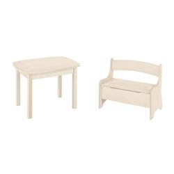 BioKinder - Das gesunde Kinderzimmer Kindersitzgruppe Levin, mit Tisch und Sitzbank, Sitzhöhe 30 cm weiß