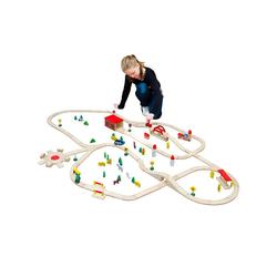 eyepower Spielzeug-Eisenbahn 120-teilige Holzeisenbahn Set Spielzeug-Eisenbahn, Holzbahn Kinder-Bahn Zug Set braun