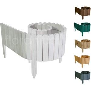Floranica® Rollborder | Flexibler Holzzaun 203cm | Höhe: 10cm | Weiß | Imprägniert | Kiefernholz | Beeteinfassung | Rasenkante | Palisade | Umzäunung für Obstgärten, Beete, Wege