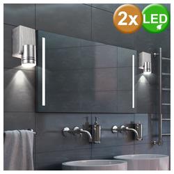 etc-shop Wandstrahler, 2er Set LED Wand Spot Strahler Leuchte Lampe Alu Acryl Licht Beleuchtung
