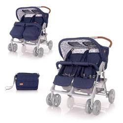 Lorelli Zwillingsbuggy Zwillingskinderwagen TWIN, Wickeltasche Einhand-Klappsystem Fußabdeckung blau