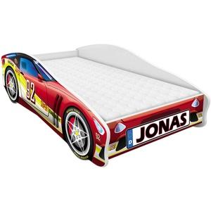 Kinderbett Autobett Auto Junior mit Lattenrost und Matratze 140x70 160x80 180x80 ACMA (160x80, 4 + Name)