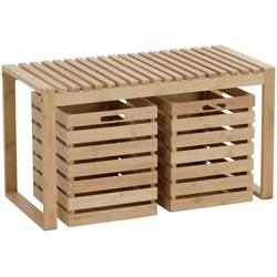 axentia Sitzbank Bambus (3-St), mit Schubkästen