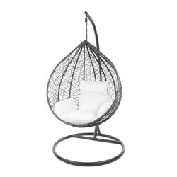 KIDEO Hängesessel MANACOR Schwebesessel mit Gestell und Kissen, moderne Loungemöbel weiß