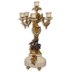 Casa Padrino Barock Kerzenständer Weiß / Gold 29,5 x 26,5 x H. 59,4 cm - Barockstil Deko