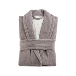 Gözze Turin Soft Bademantel mit Schalkragen, taupe, Morgenmantel aus 50% Baumwolle und 50% Microfaser, Größe: L