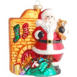 Krebs Glas Lauscha Christbaumschmuck Santa vor dem Kamin (1-tlg), mundgeblasen