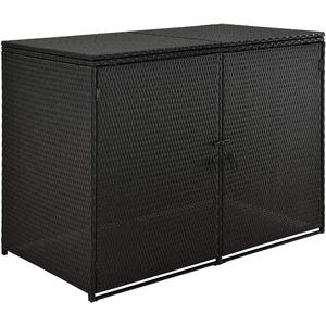 Juskys Mülltonnenbox MOL | Aufbewahrungsbox für 2 Tonnen | 1,2m2 | Türen abschließbar | Poly-Rattan | schwarz | Mülltonnenverkleidung