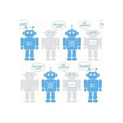 WOW Vliestapete Robots, (1 St), Blau/Grau/Weiss - 10m x 52cm