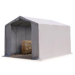 Toolport Zelthalle 3x6m PVC 550 g/m² grau wasserdicht Industriezelt