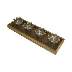 MEA LIVING Kerzenständer Kerzenhalter mit 4 Kronen, länglich braun