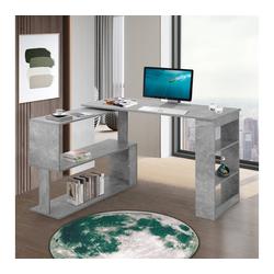 PHOEBE CAT Eckschreibtisch, L-förmiger Computertisch Bürotisch Schreibtisch Gaming Tisch, 360-Grad-Drehung, offene Regale zur Aufbewahrung grau