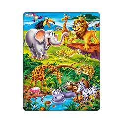Larsen Puzzle Rahmen-Puzzle, 18 Teile, 36x28 cm, Tierische, Puzzleteile