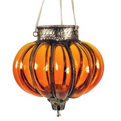 Guru-Shop Windlicht Orientalisches Glasteelicht, Hänge Teelicht,.. orange