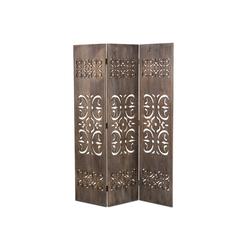 Homestyle4u Paravent, 3 fach Raumteiler Holz Trennwand braun