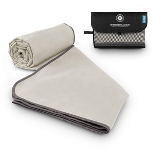 BERGBRUDER Microfaser Handtücher - Ultraleicht, kompakt & schnelltrocknend - Reisehandtuch, Sporthandtuch Set mit Tasche (Set S = 2X S 80x40 cm, Beige-Grau)