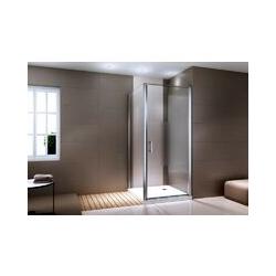 Duschkabine Eckdusche 8 mm NANO Echtglas EX416-1 Milchglas-Streifen - 90 x 90 x 195 cm Tür nach