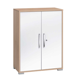 80 cm Büroschrank in Weiß und Buche Optik abschließbar