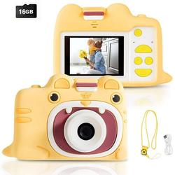 COSTWAY Kinder Digitalkamera Videokamera Kinderkamera (18MP/720P HD, inkl. Trageband, 16GB-Speicherkarte, mit Schutzhülle) gelb 7 cm x 10 cm