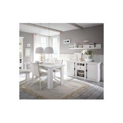 Lomadox Esszimmer-Set WINGST-61, (Spar-Set, 4-tlg), Landhaus Esszimmer-Set in Pinie weiß Nb. mit Sideboard (ohne Stühle) Stellmaß Sideboard ca. 83 cm