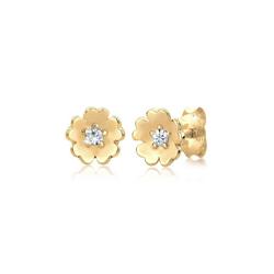 Elli Paar Ohrstecker Blume Garten Kristalle 925 Silber, Blume