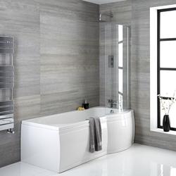 Duschbadewanne 167,5x85cm P-förmig mit Badewannenaufsatz & Schürze 230L rechtsbündig, von Hudson Reed
