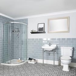 Nostalgie Bad Komplettset - Viertelkreis-Dusche, Stand-WC und Stand-Waschtisch - Richmond