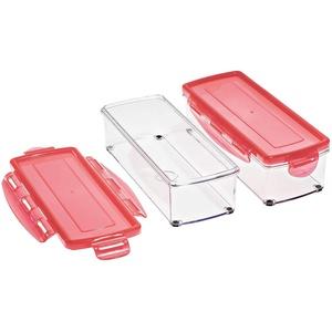 Genius Nicer Dicer Smart (4 Teile) Auffang-Behälter Aufbewahrungs-Box mit Deckel Boxen Aufbewahrung in rot - Ideal zur Aufbewahrung von Obst und Gemüse