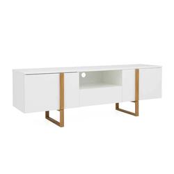 TV Lowboard in Weiß und Eiche Skandi Design