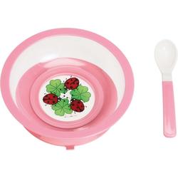 Playshoes Teller mit Saugfuß und Löffel pink