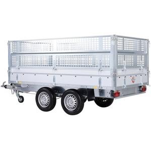 STEMA PKW-Anhänger Rückwärtskipper 2,7 t, max. 1870 kg, inkl. E-Hydraulikset und Gitteraufsatz