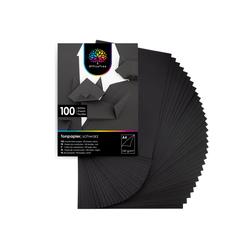 OfficeTree Bastelkartonpapier 100 Blatt Bastelpapier schwarz, Tonpapier A4 130g/m zum Basteln und Gestalten