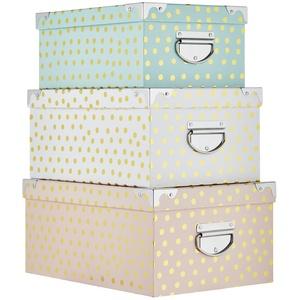 Basispreis* Aufbewahrungsbox, 3er-Set   Punkte ¦ mehrfarbig ¦ Papier, Metall, Pappe ¦ Maße (cm): B: 36,5 H: 25 T: 16