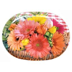 Lashuma Tablett Blumenkorb, Melamin, Tablett oval mit Motiv, Dekotablett zum Servieren 21 cm x 30 cm x 1.5 cm
