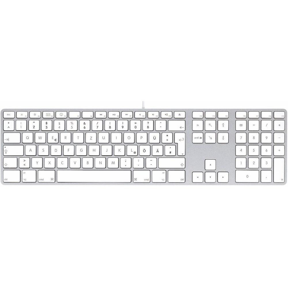 LMP KB-1243 kabelgebundene USB Tastatur mit Zahlenblock und USB-Hub deutsch f/ür Apple
