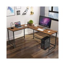 COSTWAY Eckschreibtisch Computertisch Schreibtisch Bürotisch, Computertisch L-Form, Eckschreibtisch braun