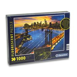 Clementoni® Steckpuzzle Puzzle - New York bei Nacht (fluoreszierend, 1000 Teile), 1000 Puzzleteile
