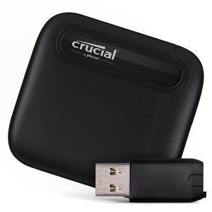 Crucial X6 2TB Portable SSD – Bis zu 540MB/s – USB 3.2 – USB-C - CT2000X6SSD9 + USB-C to USB-A Adapter – CTUSBCFUSBAMAD