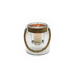 HTI-Living Windlicht Kerzenhalter, Glas mit Jute-Henkel