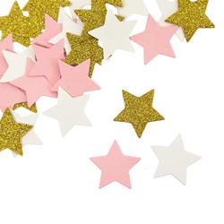 Papier Konfetti Sterne 36 Stk. Tischdeko Hochzeit JGA - rosa weiß gold