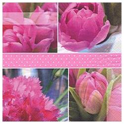 Linoows Papierserviette 20 Servietten, Atemberaubend, Rosentulpen die, Motiv Rosentulpen die Königs Tulpen